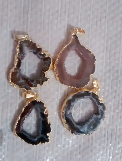 Stones from Uruguay - Agate Geode Slice Pendants with Gold Plating