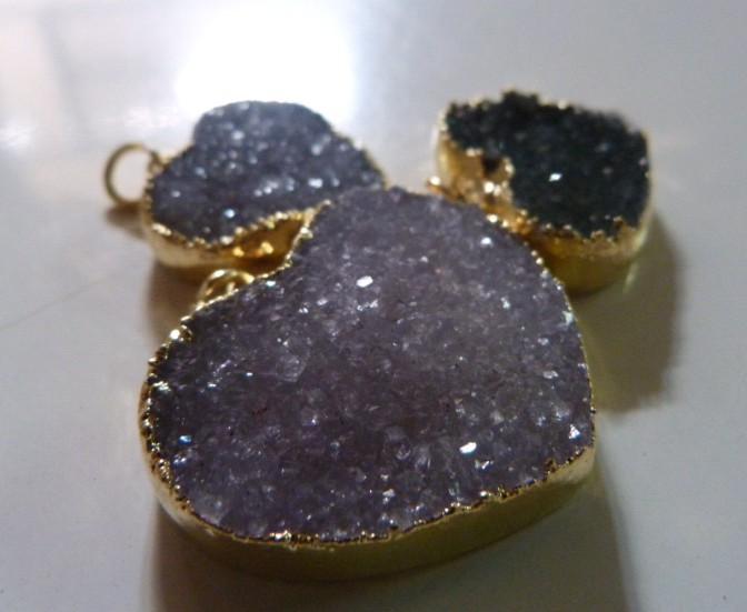Stones from Uruguay - Druzy Heart Charms with Gold Plating