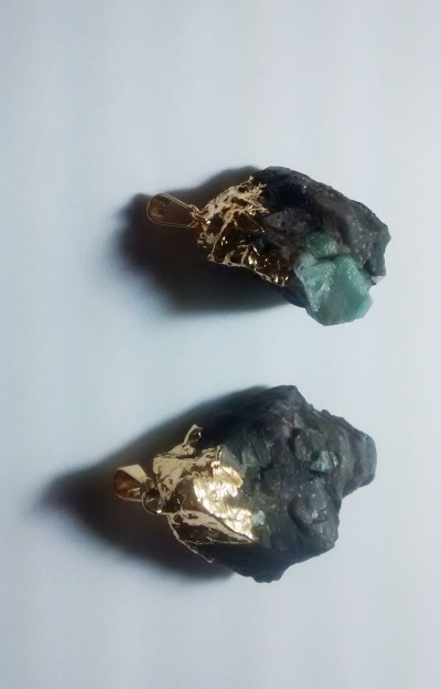 Stones from Uruguay -  Emerald Pendants in Matrix with Gold Plating