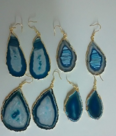 Stones from Uruguay - Light Blue Agate Slice Pairs with Gold Plating