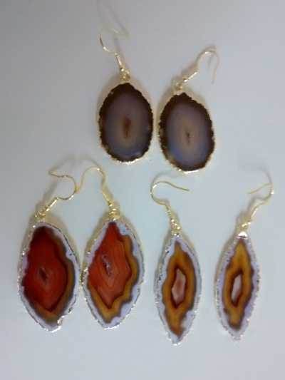 Stones from Uruguay - Natural Agate Slice Pairs with Gold Plating