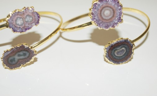 Stones from Uruguay - Double Amethyst Stalactite Bracelet, Real Gold Plated ,Quality A