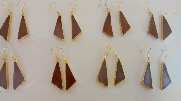 Stones from Uruguay - Scalene Triangle Pair with Fish Hook,Gold Electroplated, Sizes from 15 to 45mm