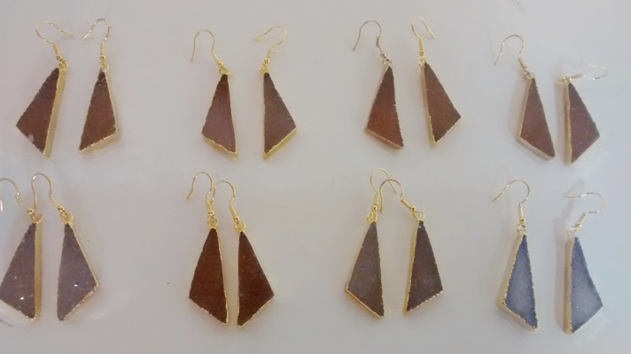 Stones from Uruguay - Scalene Triangle Pair with Fish Hook, Gold Plated, Sizes from 15 to 45mm