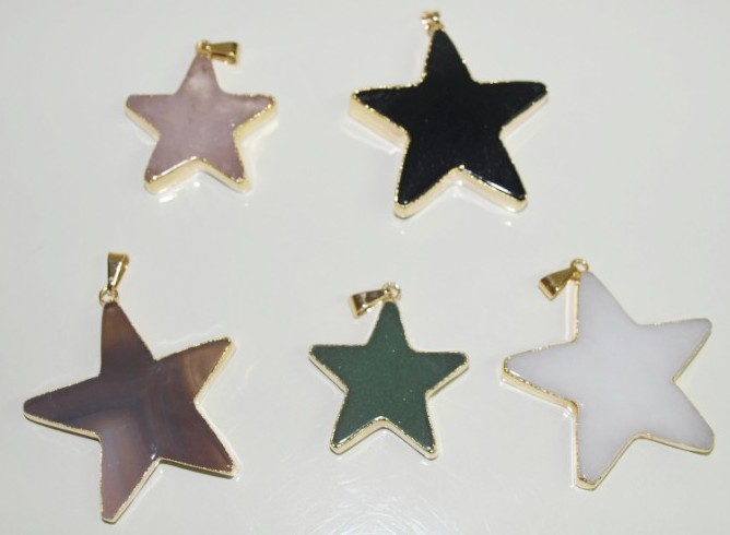 Stones from Uruguay - White Dolomite Star Pendant, Gold Electroplated