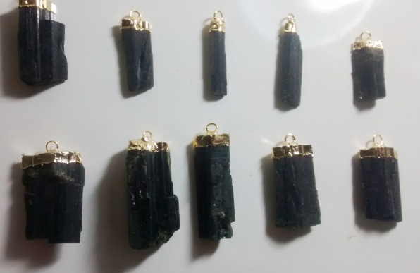 Stones from Uruguay - Epidote Pendant, Gold Electroplated,  Size 21-35mm