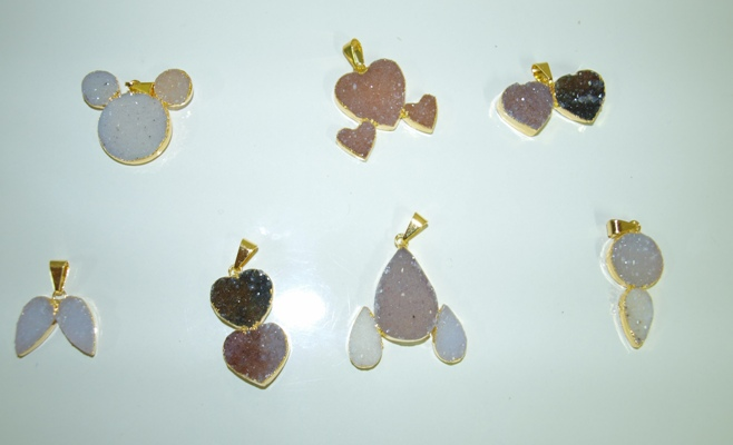 Stones from Uruguay - Double Druzy Teardrop,Double Heart Pendant, Triple Druzy Pendant with 24k Gold Electroplated Edge