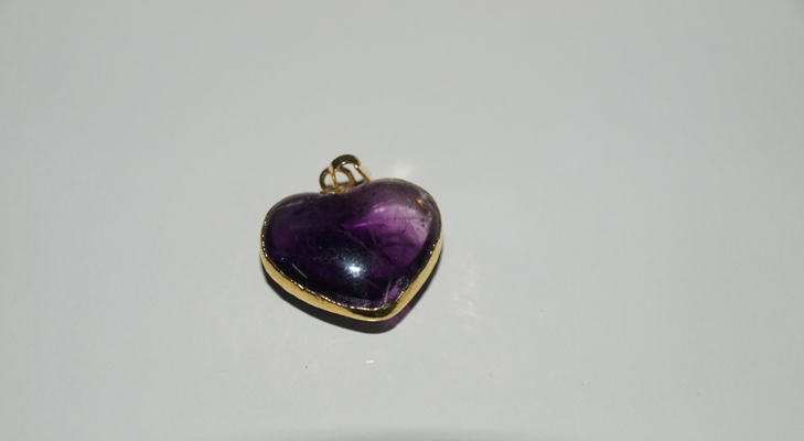 Stones from Uruguay - Uruguayan Amethyst Heart Cabochon Pendant with Gold Electroplated,Size 21-25mm, Top and Bottom Convex