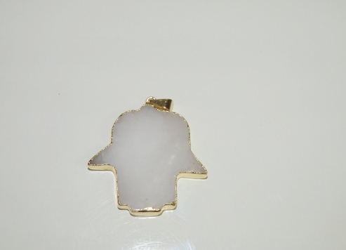 Stones from Uruguay - Polished White Dolomite Hamsa Pendant, Gold Electroplated