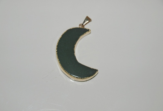 Stones from Uruguay - Polished Green Quartz Half Moon Pendant, Gold Plated