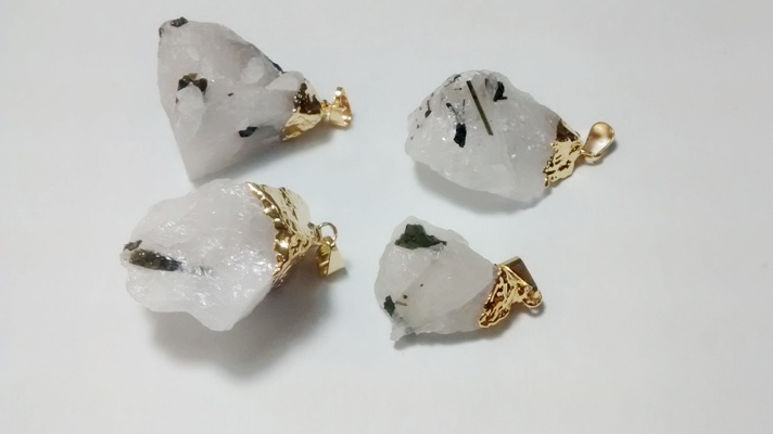 Stones from Uruguay - Dark Green Tourmaline Pendants in Quartz Matrix, Gold Plated