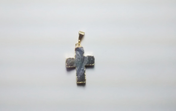 Stones from Uruguay - Chalcedony Druzy Crucifix Pendant, Gold Electroplated (30mm)