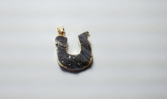 Stones from Uruguay - Chalcedony Druzy Horseshoe Pendant, Gold Electroplated (30mm)