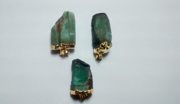 Stones from Uruguay - Emerald Pendant, Gold Plated, Size 21-35mm