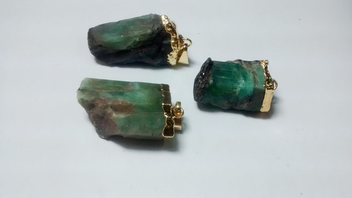 Stones from Uruguay - Rough Emerald Pendant, Gold Electroplated, 21-35mm