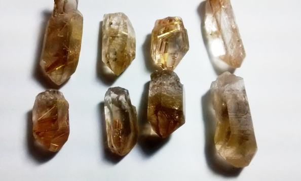 Stones from Uruguay - Natural Rutilated Quartz Crystal Point for Connectors