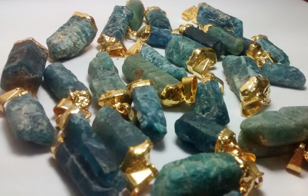 Stones from Uruguay - Blue Apatite Pendants, Gold Plated, Size 21-35mm