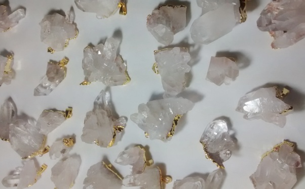 Stones from Uruguay -  Gold Plated Clear Quartz Crystal Cluste Pendants