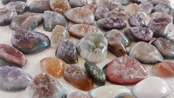 Stones from Uruguay - Polished Druzy Free Form Cabochons for Pendants, Size 36-50mm