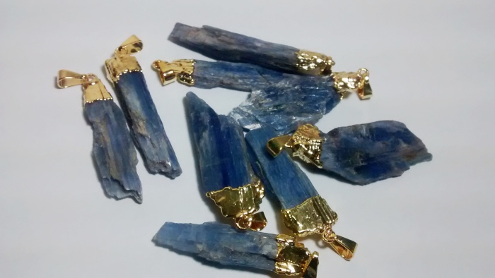 Stones from Uruguay - Gold Plated Blue Kyanite Pendants, Size 36-50mm