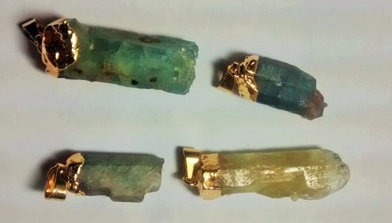 Stones from Uruguay - Rough Beryllium Pendants, Gold Plated