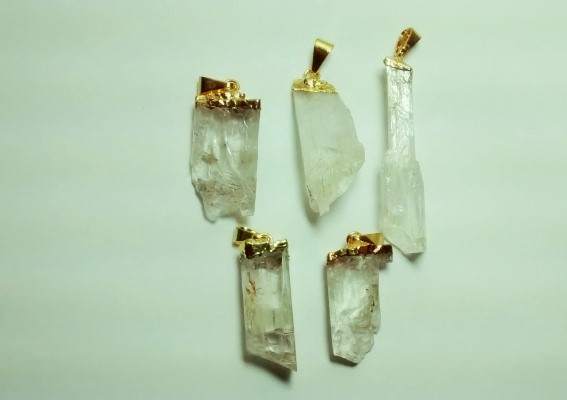 Stones from Uruguay - Rough Hiddenite Pendant,Gold Plated