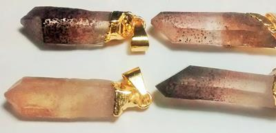 Stones from Uruguay - Quartz Crystal Point Pendants with  Red Lepidocrocite Hematite Inclusions, Gold Plated