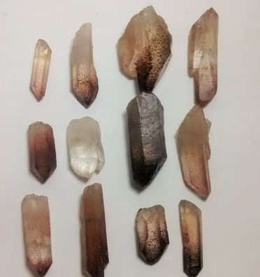 Stones from Uruguay - Quartz Crystal Point  with Red Lepidocrocite Hematite Inclusions