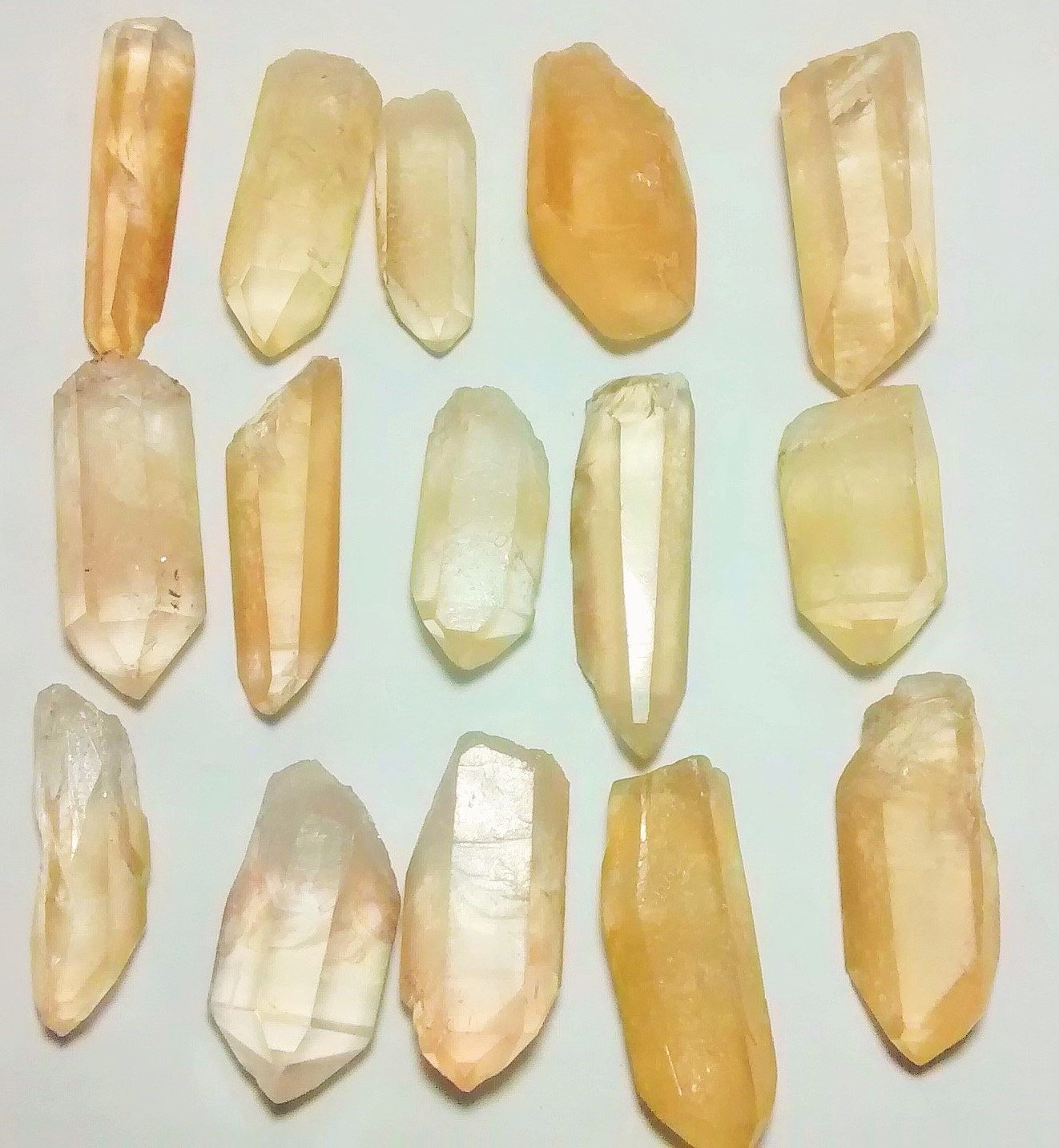 Stones from Uruguay - Natural Yellow Lemurian Seed Quartz Crystal Points