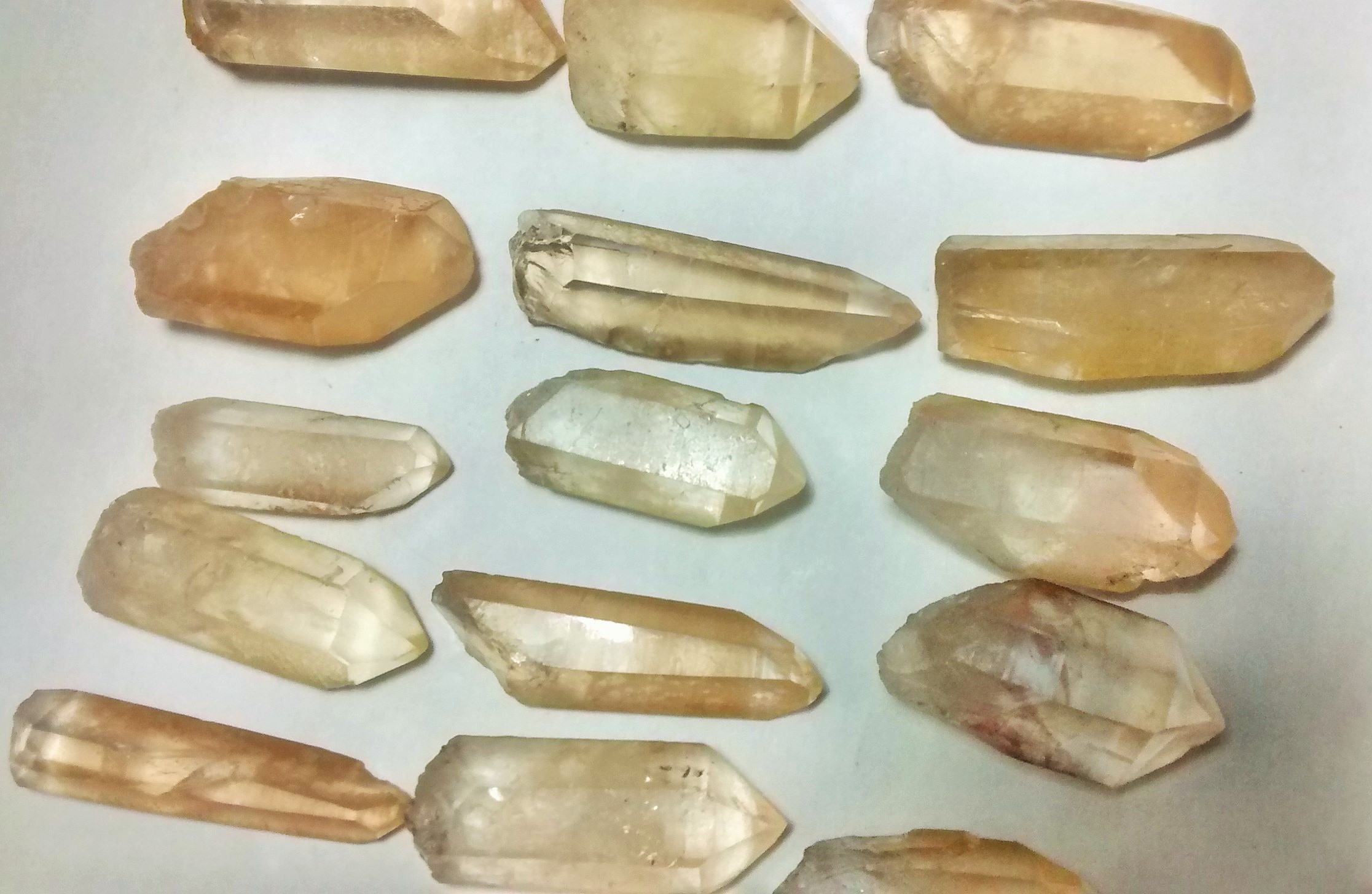 Stones from Uruguay - Yellow Lemurian Quartz Crystal Points