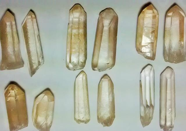 Stones from Uruguay - Yellow Lemurian Quartz Crystal Point Pairs