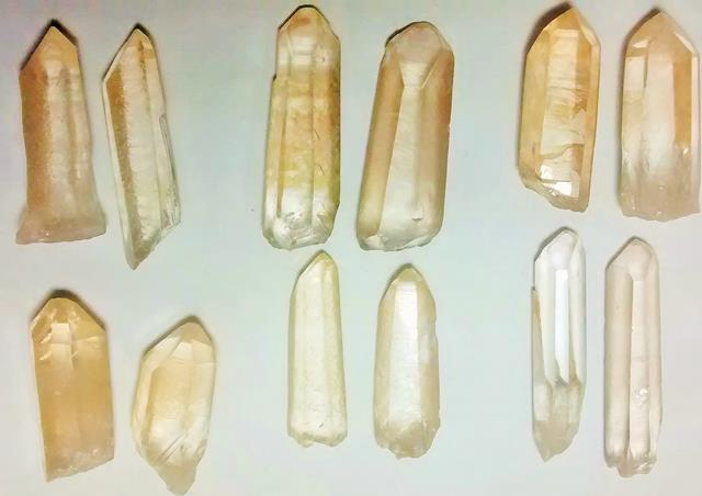 Stones from Uruguay - Natural Yellow Lemurian Seed Quartz Crystal Point Pairs
