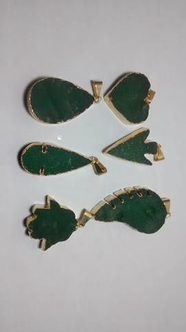 Stones from Uruguay - Rough Green Quartz Pendants, gold Plated