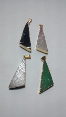 Stones from Uruguay - Rough Scalene Triangle  Pendants(white dolomite, black obsidiun, green quartz and rose quartz)