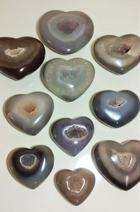 Stones from Uruguay - Natural Agate Druzy Hearts