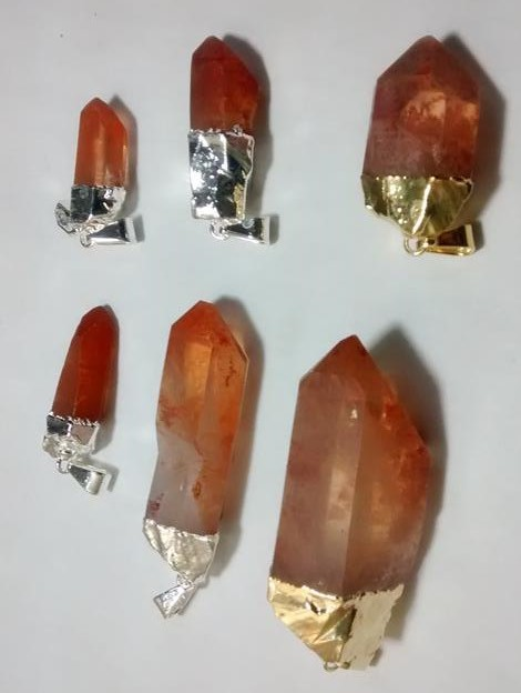 Stones from Uruguay - Tangerine Quartz Crystal Point Pendants with Electroplated