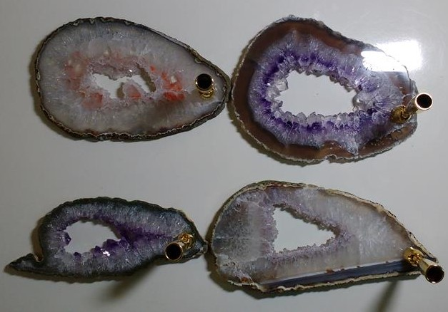 Stones from Uruguay - Amethyst Geode Slices Pen Holder