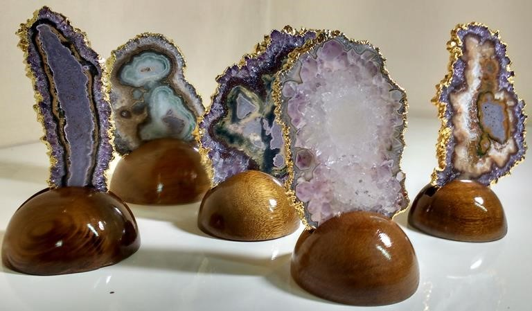 Stones from Uruguay -  Gold Plated Amethyst Stalactite Slice with Wooden Base