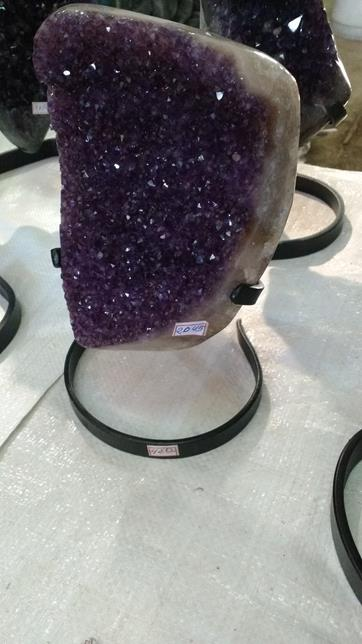 Stones from Uruguay - Polished Uruguayan Amethyst Druzy with Metal Base