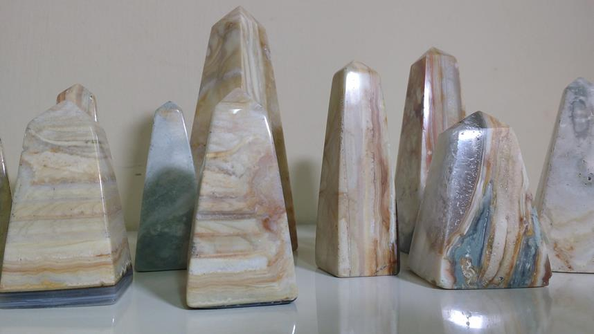 Stones from Uruguay - Pampa Cream Jasper Obelisk for Home & Decor