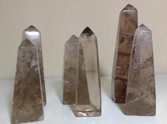 Stones from Uruguay - Smoky Quartz Obeslik for Home and Decor