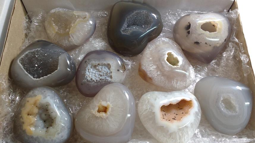Stones from Uruguay - Boxes with Agate Druzy Heart for Home and Decor