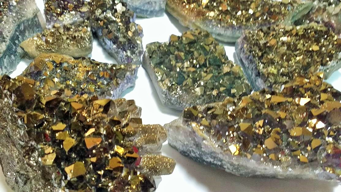 Stones from Uruguay - Old Gold  Titanium Aura Amethyst Druzy for Home and Decoration