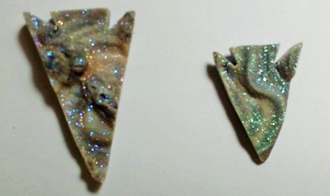 Stones from Uruguay - Matisse Titanium  Chalcedony Druzy Arrowhead for Setting of Hole and Bail