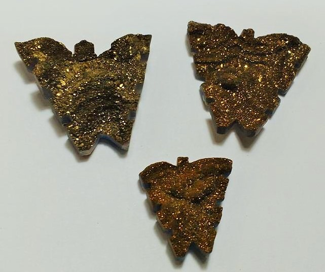 Stones from Uruguay - Old Gold Titanium Royal Aura Chalcedony Druzy Butterfly