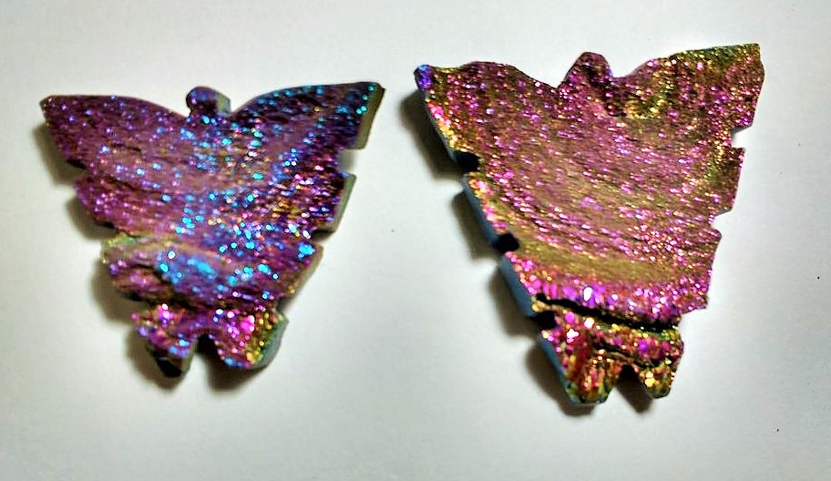 Stones from Uruguay - Pink Rainbow Titanium Aura Chacedony Druzy Butterfly