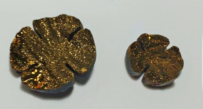 Stones from Uruguay - Old Gold Titanium  Aura Chalcedony Druzy Clover
