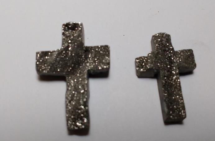 Stones from Uruguay - Old Silver Titanium Chalcedony Druzy Crucifix for Jewelry