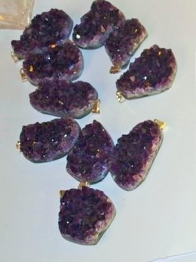 Stones from Uruguay - Dark Purple Amethyst Druzy Free Form Pendant with Silver Bail( 50 microns in thickness)
