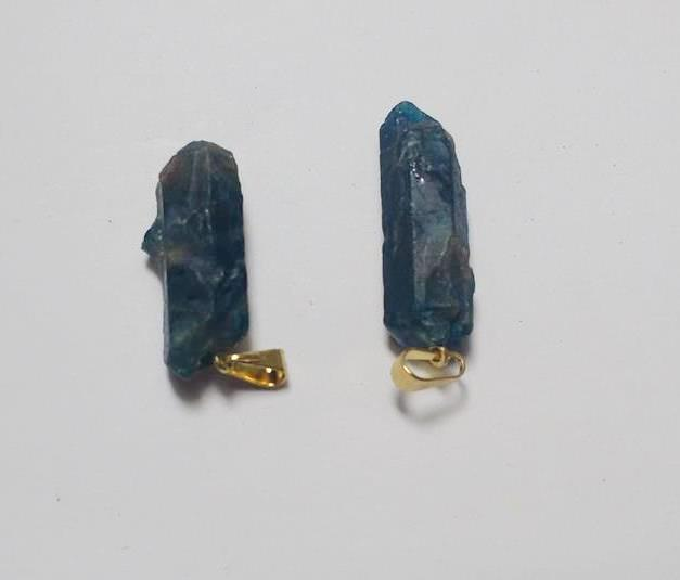 Stones from Uruguay - Rough Blue Apatite Pendant with Hole and Gold Plated Bail
